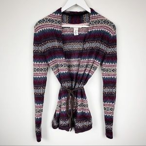 H&M Soft & Cozy Fair Isle Belted Cardigan Sweater